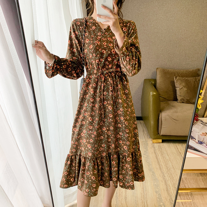 AjButterfly Autumn and winter corduroy new Korean dress for students