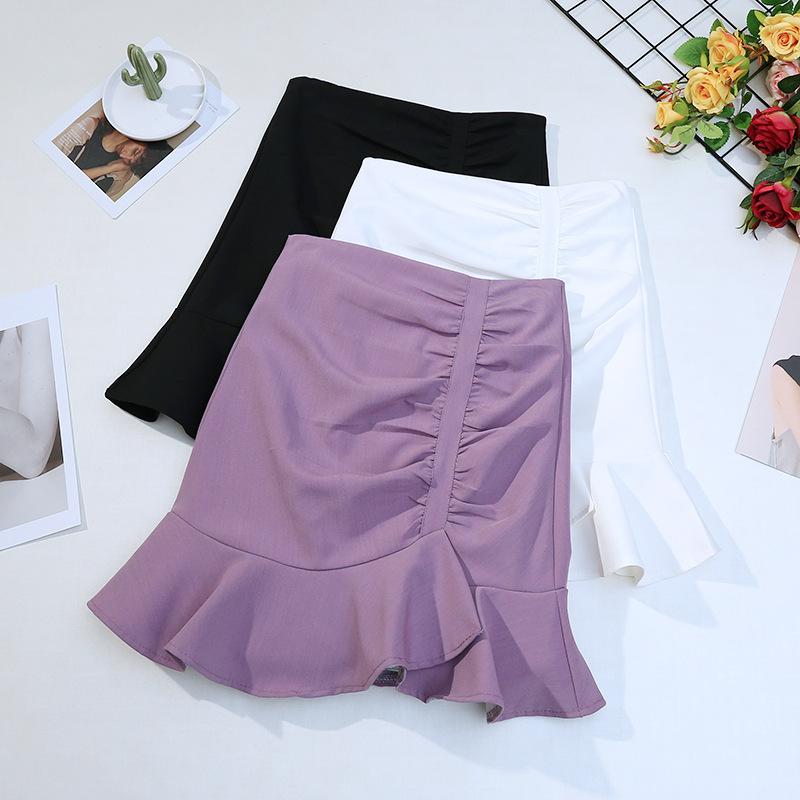 High waisted irregular fishtail skirt fashion Korean chic versatile pleated Ruffle hem solid color h