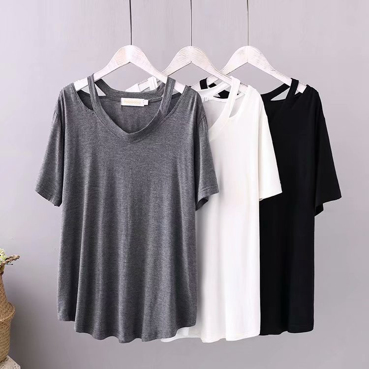 Large women's versatile solid color modal sexy off shoulder T-shirt summer comfortable versatile sh