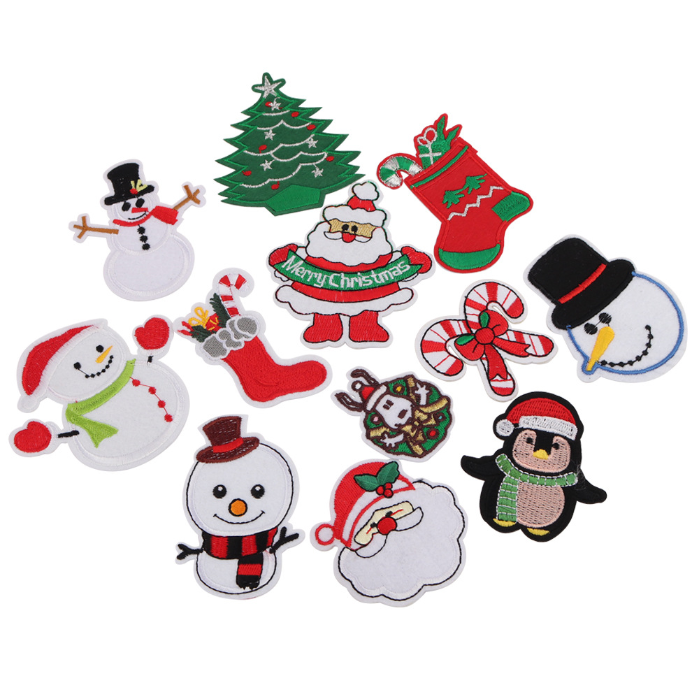 New Christmas series Christmas tree Snowman beads hot stamping patch patch clothing decoration hand