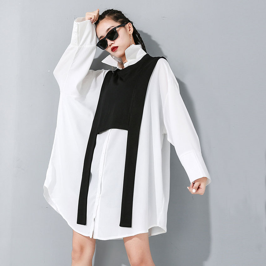 New solid color long sleeve shirt early autumn 2020 irregular cardigan two piece set 19-2207