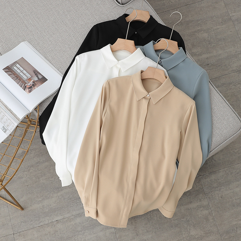 Forestant Autumn and winter style thickened Satin fashion square collar women's long sleeve shirt b