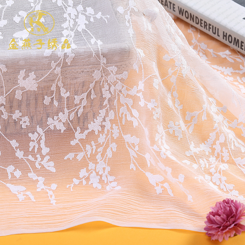 YDYS High grade garment fabric embroidered cloth transparent piece embroidered paper printed cloth r