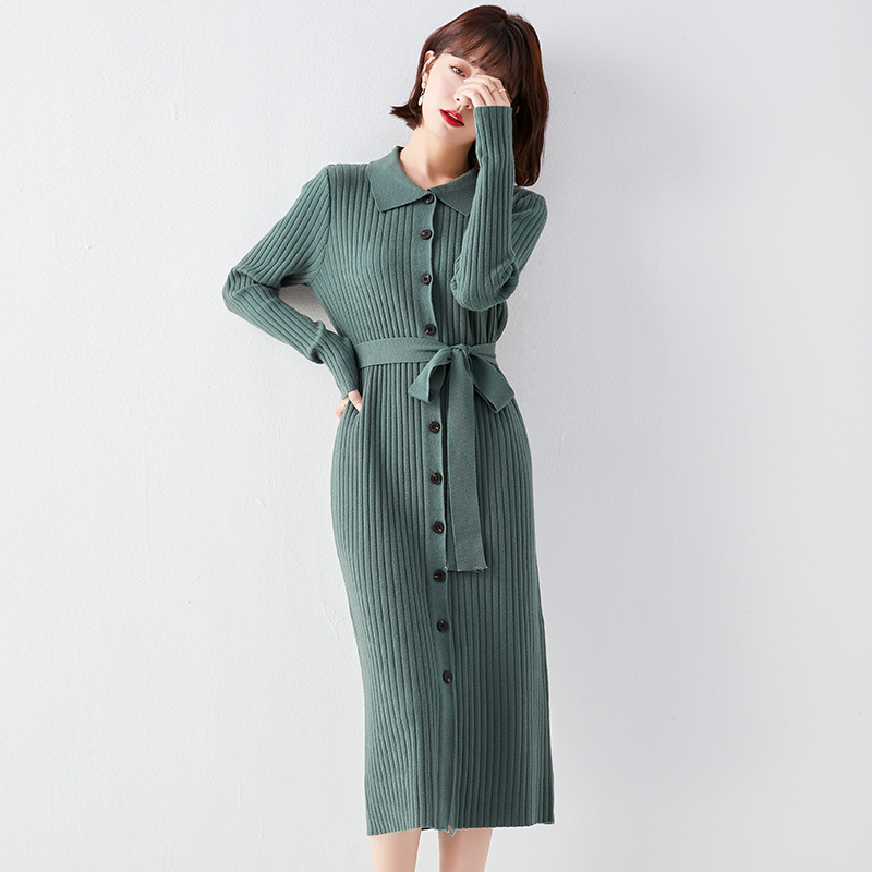 CHUNWAN Retro Lapel cross border knitted dress fall / winter 2020 new women's wear foreign trade me