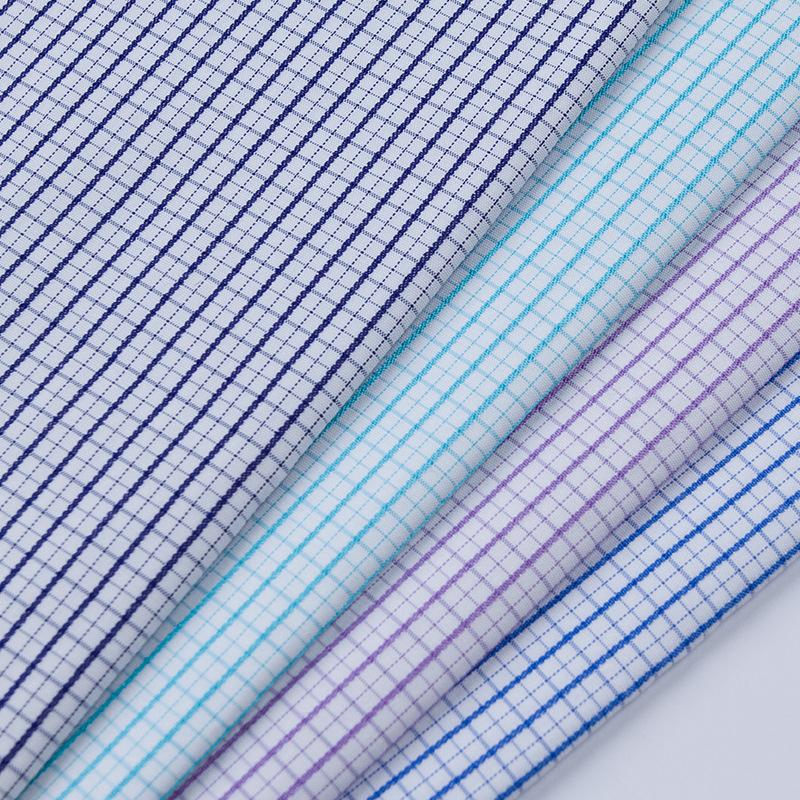 XINTANG Bamboo fiber plaid shirt fabric TC woven blended business men's clothing fabric polyester c