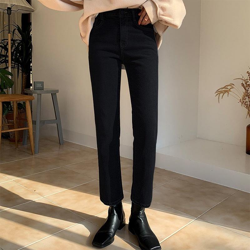 Chuang cheng Orange 2020 autumn / winter new high waist straight tube Plush jeans stretch thin black