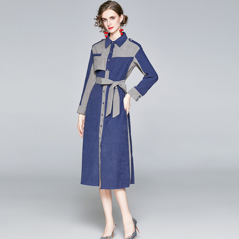 2020 velvet Lapel long sleeve contrast color stitching lace up dress fall