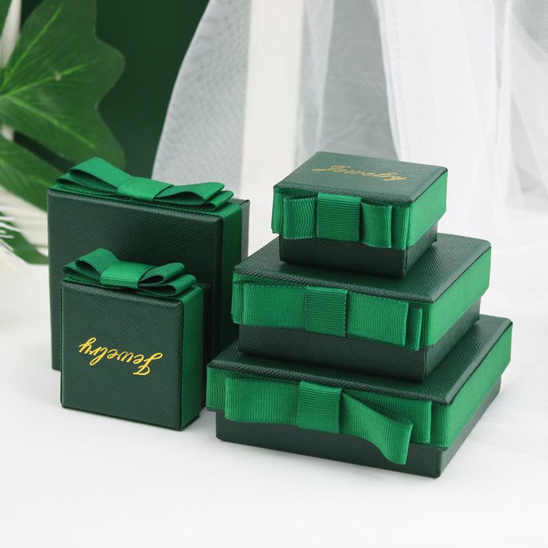 HANFEI Dark Green Bow Bracelet box ring necklace box jewelry box jewelry packaging