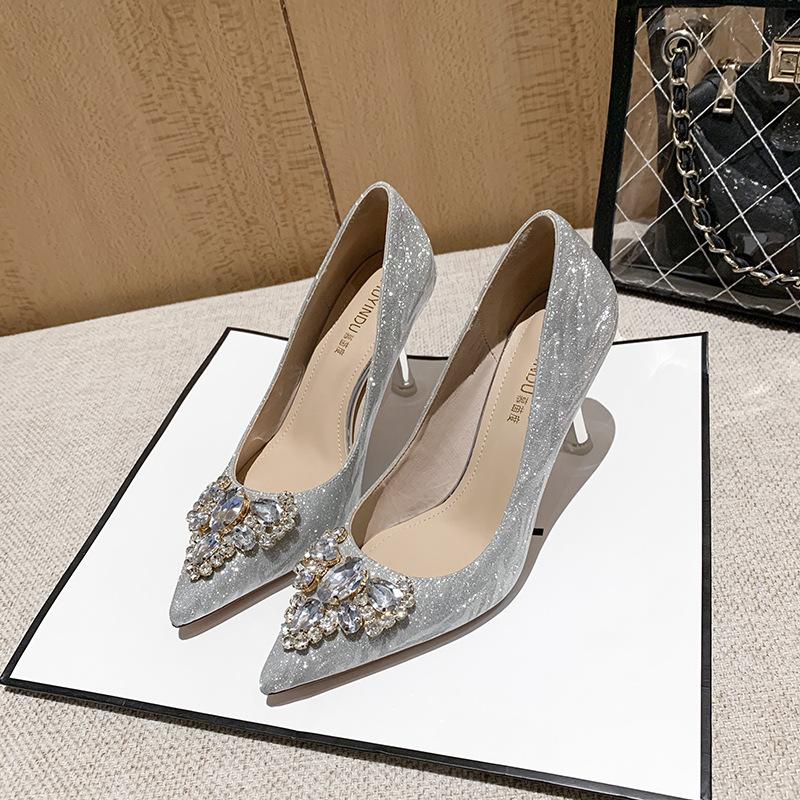 MUYINDU High heeled shoes women's new pointed thin heeled wedding dress shoes crystal wedding shoes