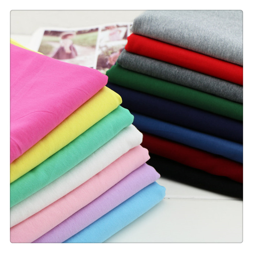 XIAOMIN Knitted fabric 21 thread CVC single jersey polyester cotton blended plain fabric short sleev