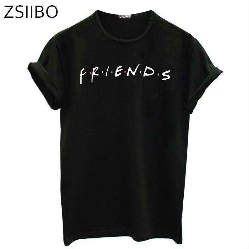ZSIIBO 2019 wish short sleeve T-shirt friends letter t-shirt men's and women's large European and