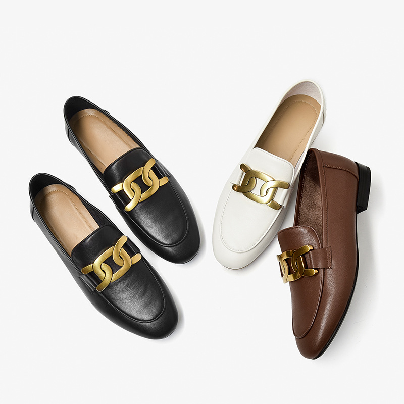 BAYOUMEI Lefu shoes women's casual shoes women's small leather shoes women's round bottomed flat