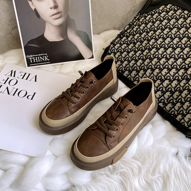 Autumn and winter 2020 new British leisure family retro lace up thick soled women's shoes