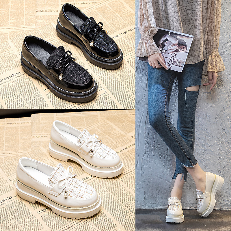 2020 new thick soled small fragrant leather shoes women's slope heel bow Lefu shoes low top round h