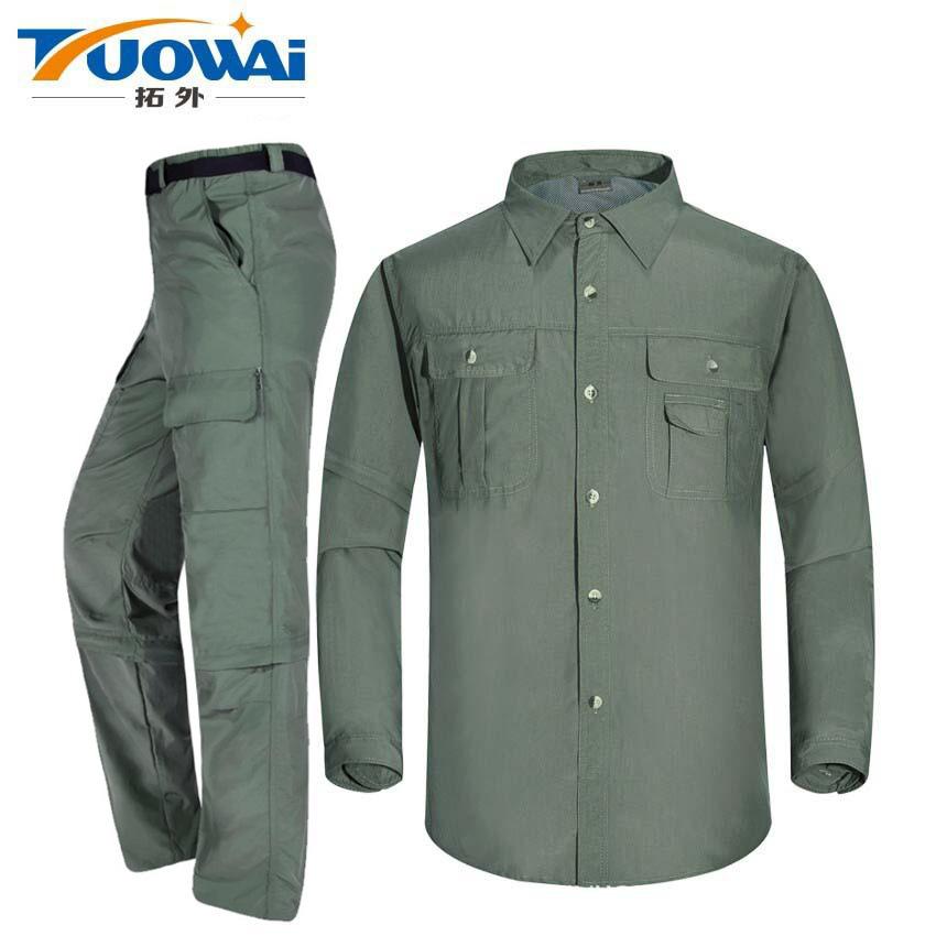 Outdoor quick drying suit men's and women's detachable short sleeve Capris quick drying pants quic