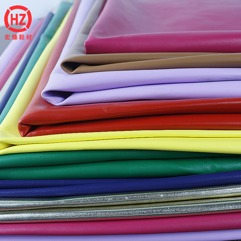 Hongzhen shoes material 0.8mm Imitation cotton bottom, Napa pattern PU leather fabric, case and bag