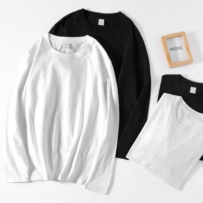 220g solid color long sleeve t-shirt men's autumn winter round neck T-shirt pure cotton thick imper
