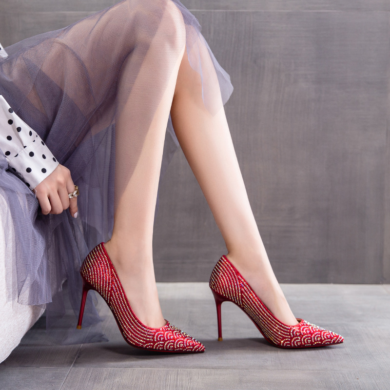 Gold bird red wedding shoes women's new spring and autumn high heels