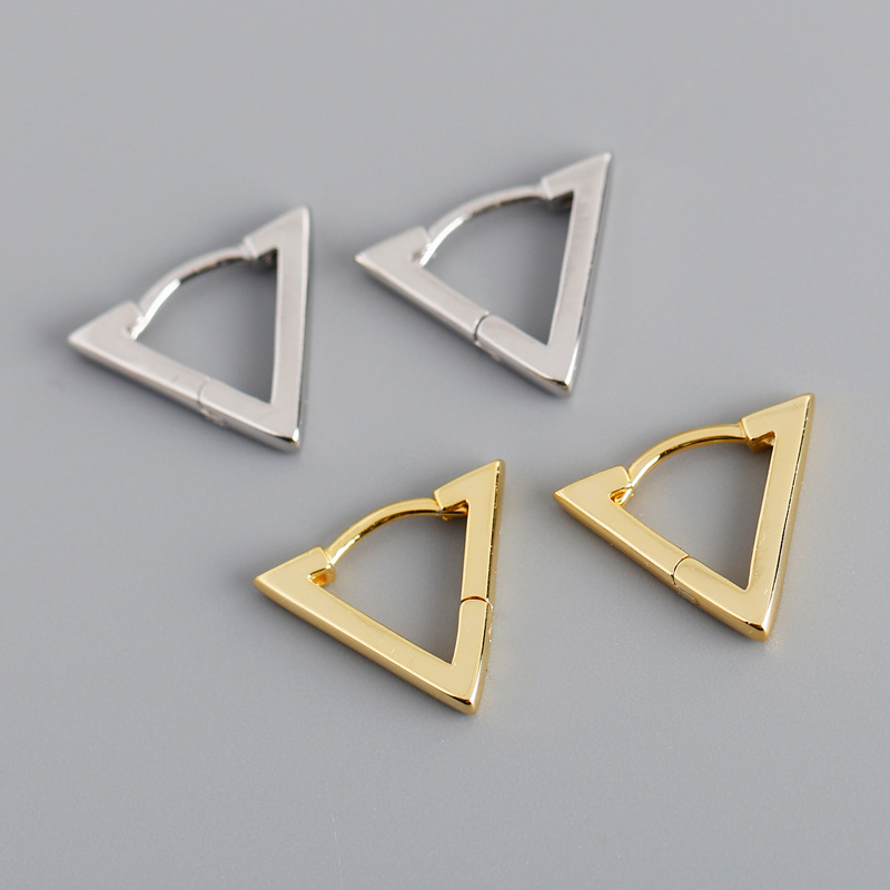 European and American Earrings versatile light luxury fashion triangle S925 pure silver ear button