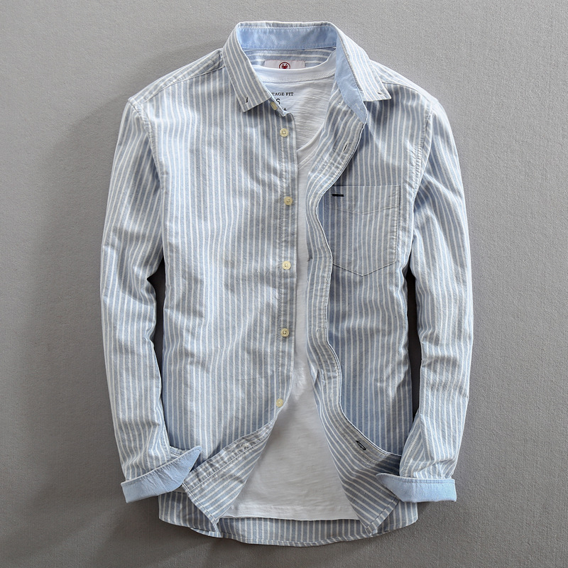 Spring 2020 New Oxford textile shirt cotton loose long sleeve inch shirt simple Lapel striped shirt