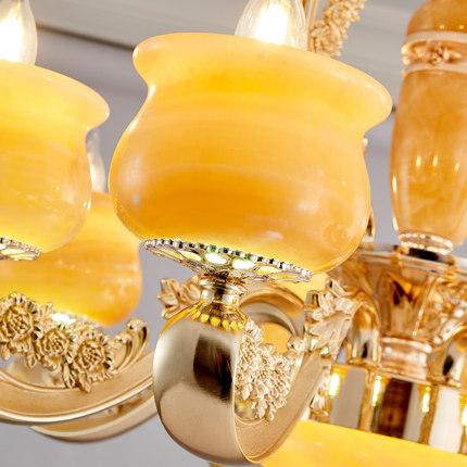 Bóng đèn nến Phong cách châu Âu phòng khách ngọc bích tự nhiên đèn chùm biệt thự tòa nhà song lập nế