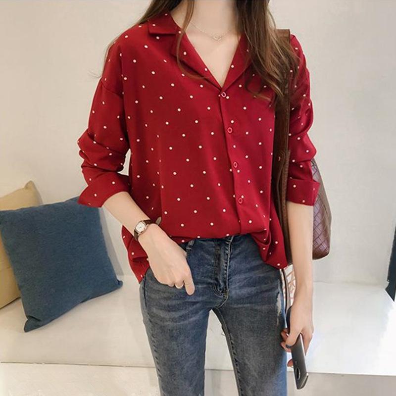Spring 2019 women's new Hong Kong Style Bodian chiffon shirt women's long sleeve top Han Fan shirt