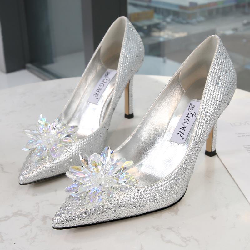 QGMR Crystal shoes high heel banquet women's shoes cross border Diamond Princess Wedding Shoes silv