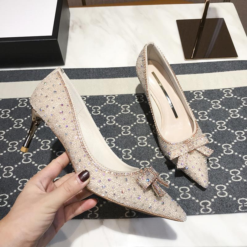 BEIJIANI 3068-5 autumn and winter 2020 diamond bow high heels women's thin heel shallow mouth point