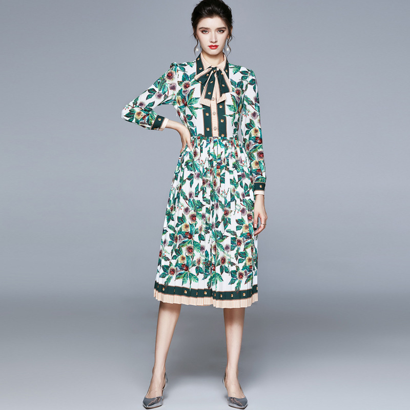 Spring and autumn new European and American Lapel lace up long sleeve printing mid length pleated sk
