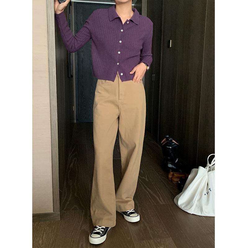 Acme Ground Shijian high waisted cotton wide leg jeans women's new look thin versatile pants straig