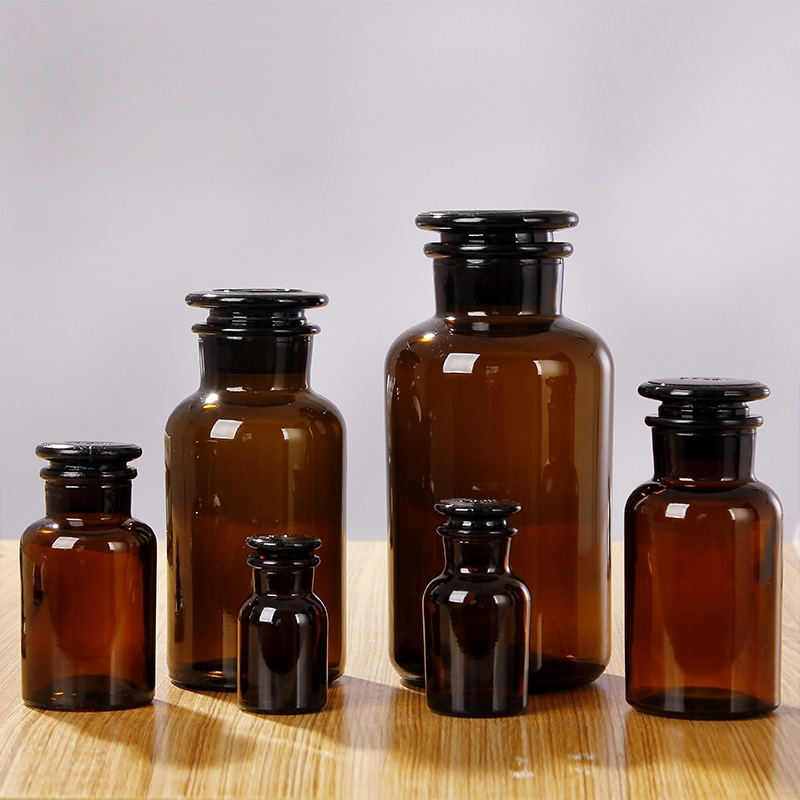 HUADE Brown transparent reagent bottle white thickened wide mouth bottle ground glass bottle laborat