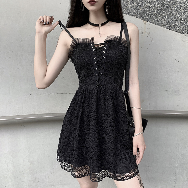YOUBU Gothic Lace bandage dress women's open back sexy suspender waist skirt mourning perspective l