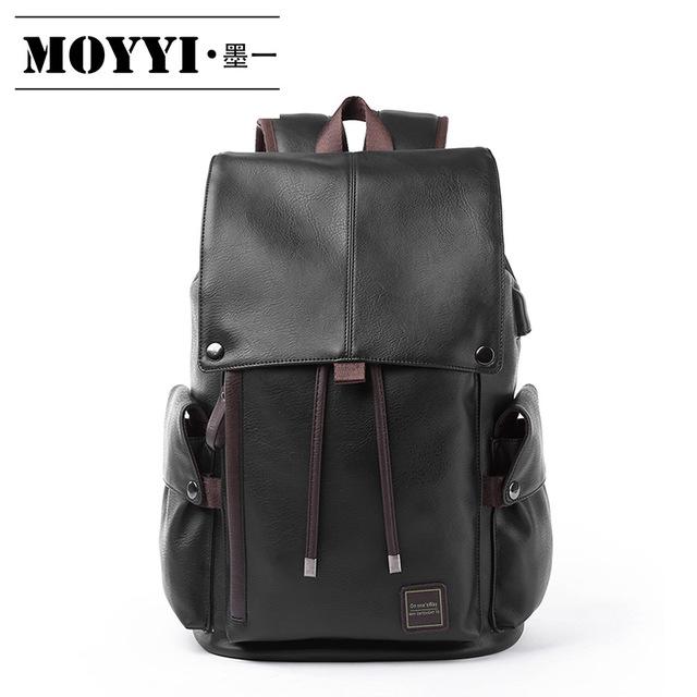 MOYYI Korean backpack men's leather fashion travel bag schoolbag leisure men's bag fashion trend C