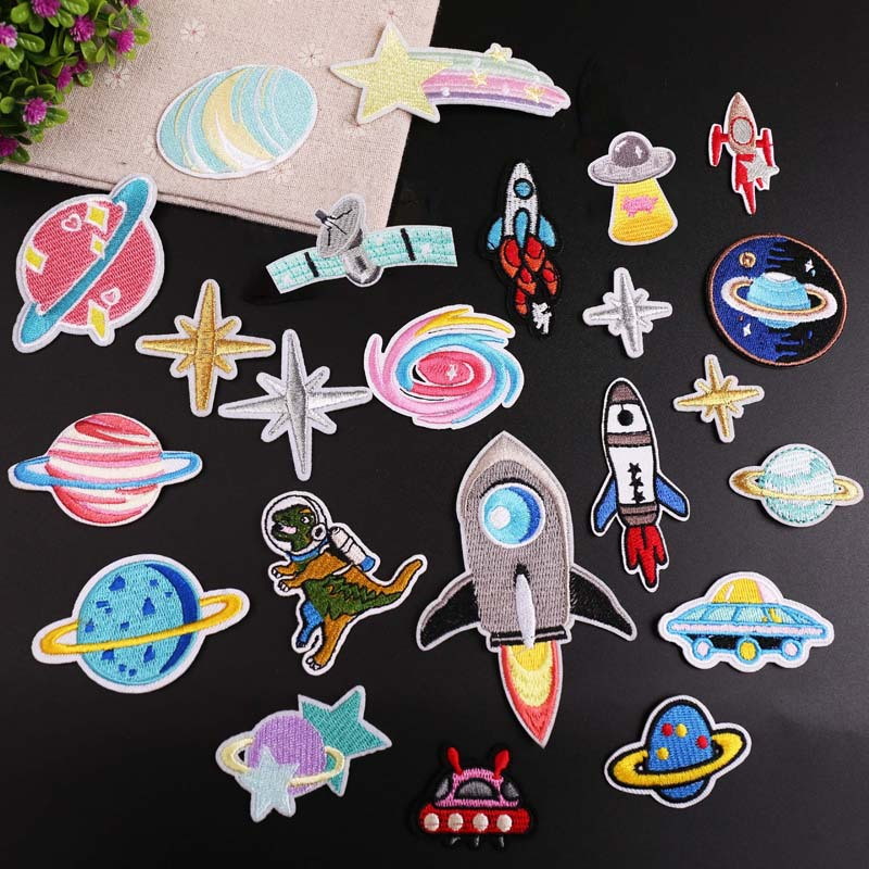 Computer embroidered stamp spaceman planet meteorite series clothing decoration patch paste embroide