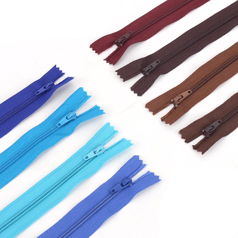 Color 3 nylon closed tail zipper pants placket zipper