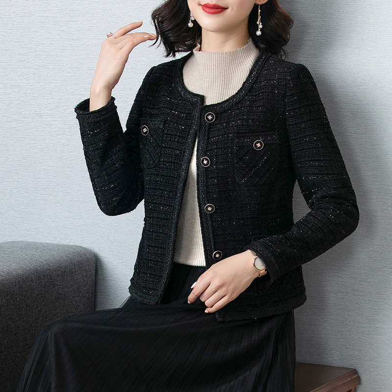autumn and winter fashion new style temperament short long sleeve top tweed elegant small casual rou