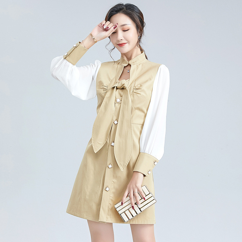 Spring 2021 new women's stand collar lace up single breasted dress pleated slim mid waist contrast