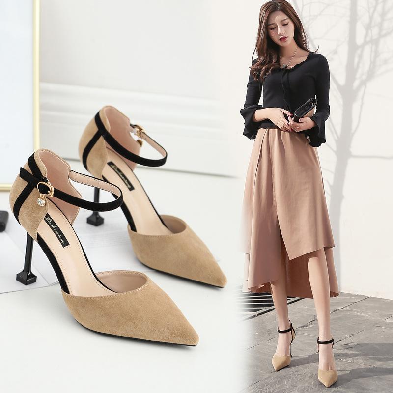 LIANHUAXIANG 2019 buckle bag heel one word high heel shoes thin heel sexy cat heel women's shoes wo