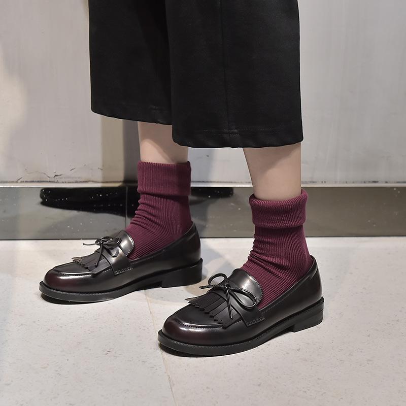 TEAHOO 2020 spring new single shoes women's black thick heel Doudou shoes Korean bowknot Lefu shoes