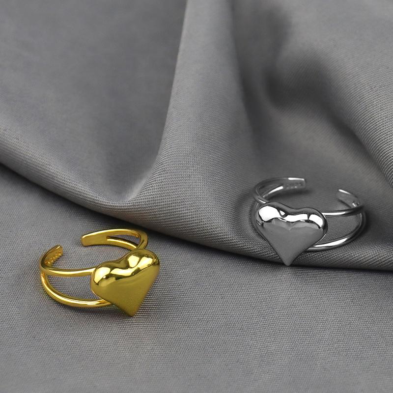 JIESHENG Chaoren simple ring bare heart plating process girls' fashion ring accessories