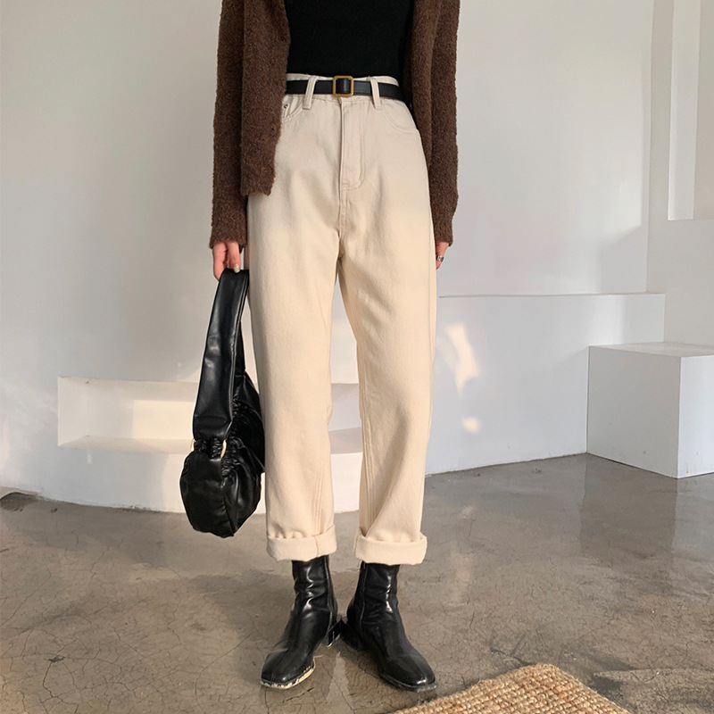 Weisong Plush jeans women's new winter 2020 straight tube loose wide leg Beige thin and thick pants