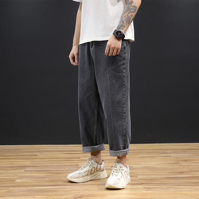 Jeans men's loose straight tube drop feeling wide leg pants fashion versatile Hong Kong Style Korea