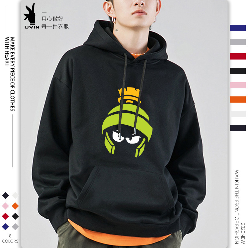 YOUYAN Autumn and winter new youth casual Pullover Sweater collarless solid color trend printed cott