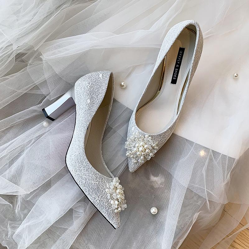 Wedding shoes women 2020 new high-heeled main wedding dress crystal shoes single lace Bridesmaid sho