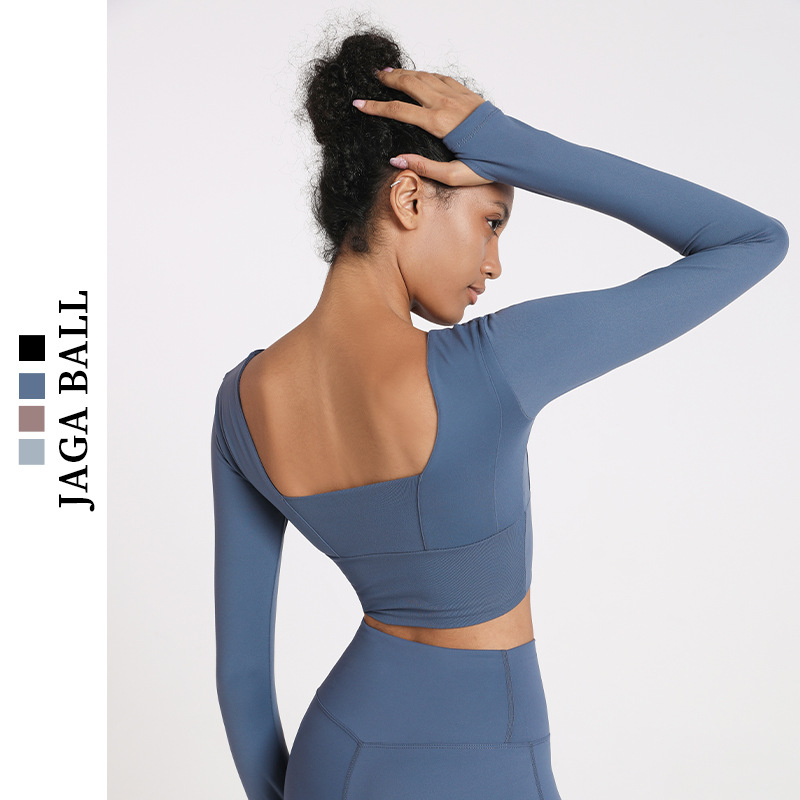 JAGA BALL European and American fast drying Yoga suit women's autumn and winter sports T-shirt fast