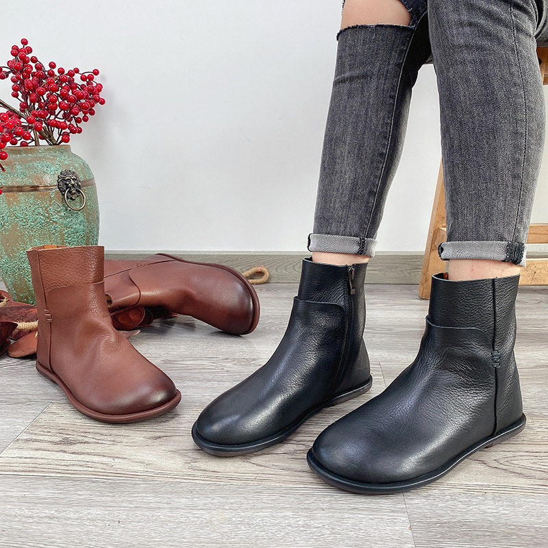 Manlvluo Fall 2020 soft leather flat bottomed Martin boots top layer leather waterproof platform Mar