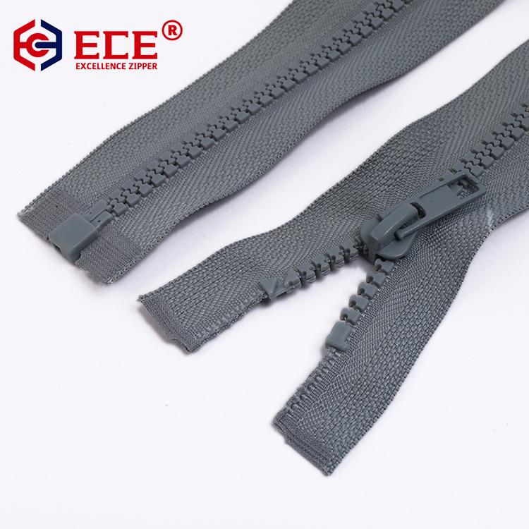 ECE No.5 rubber teeth open back zipper resin open zipper zipper for down jacket