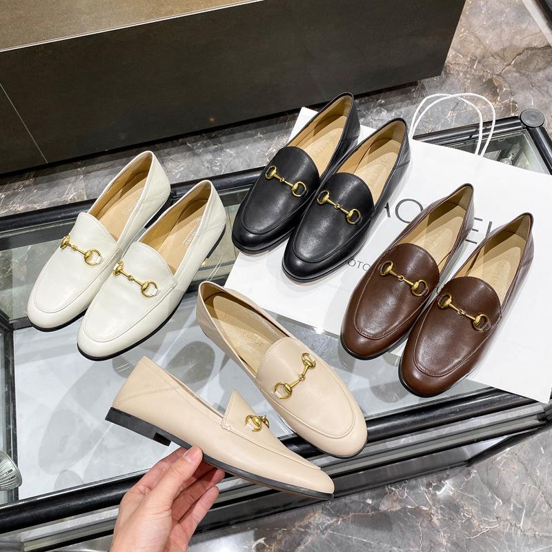 XIZAO Black flat sole single shoes women's leather 2021 new horse clasp Lefu shoes