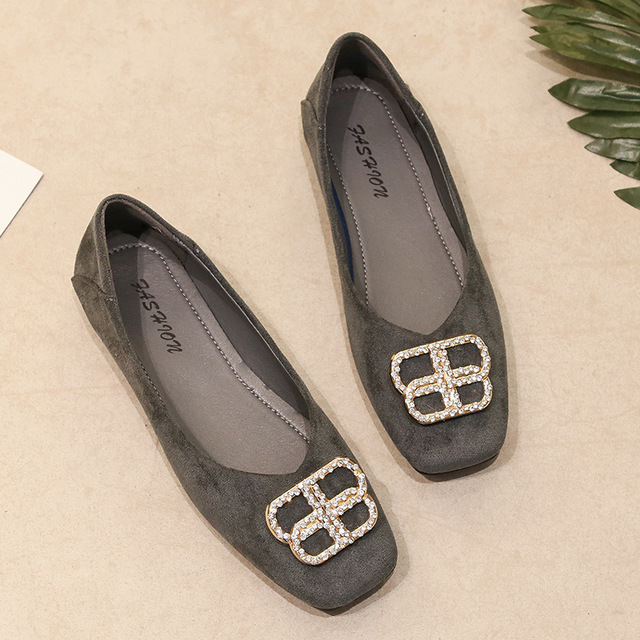 Shallow single shoes women's Suede 2020 spring and autumn Korean new water drill square button flat