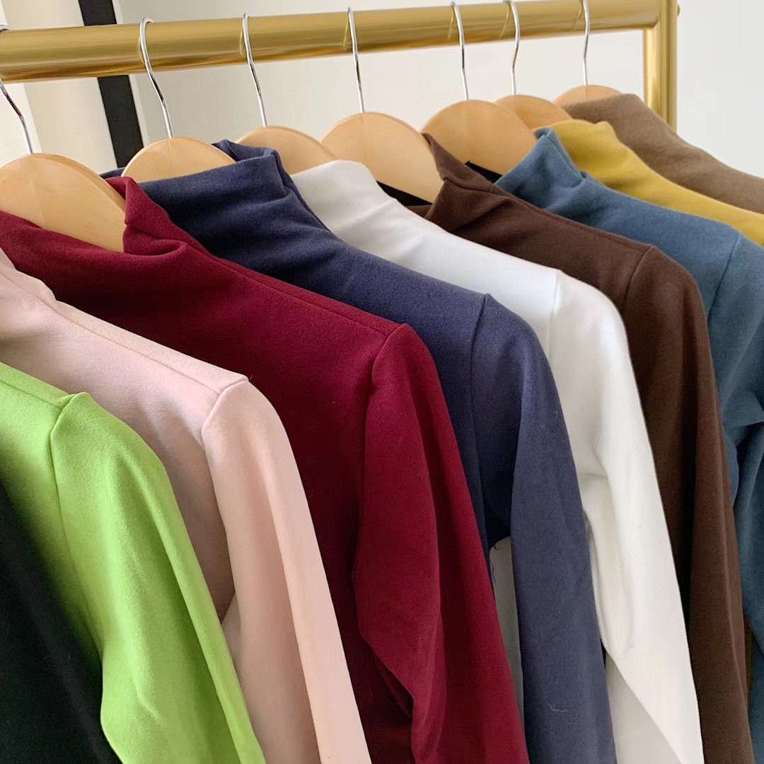 12 color cashmere half high collar bottoming shirt autumn and winter casual versatile pile neck T-sh